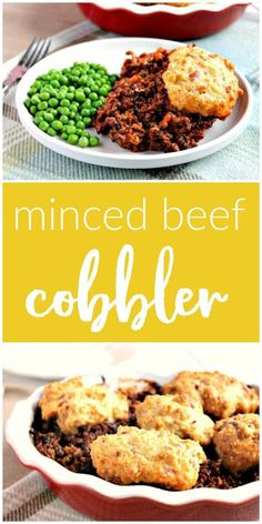 An oven baked savoury minced beef cobbler with cheesy scone cobbles on top. Minced Beef Recipes Easy, Minced Meat Recipe, Easy Mince Recipes, Mince Dishes, Beef Dishes, Food Dishes, Curry Recipes, Meat Recipes, Cooking Recipes