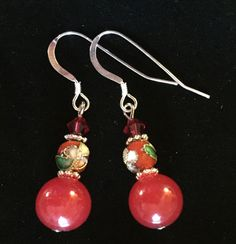 Red Jade and Cloisonné  Earrings