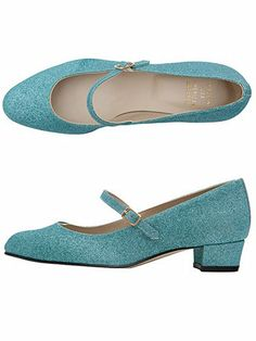 The Mary Jane Pump Glitter Shoe in Light Blue Glitter by AmericanApparel
