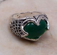 PG 16867, 925 Sterling Silver Overlay Ring Sz 10 Fabulous Jewelry Green Onyx #PinkCityGems #Ring