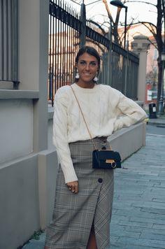 plaid skirt, dissona bag, sauths sweater, white sweater, cristina surdu