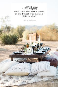 Who knew southern blooms in the desert was such an epic combo! The goal behind today's editorial was to celebrate love along with the gorgeous tones of the Southern California desert. Photography: @katiejphoto #desertwedding #bohowedding #bohemianwedding #bohobride #desertbride Vintage Wedding Theme, Boho Wedding, Garden Wedding, Modern Tabletop, Picnic Decorations, Joshua Tree Wedding, One Day Bridal, Elopement Inspiration, Deserts