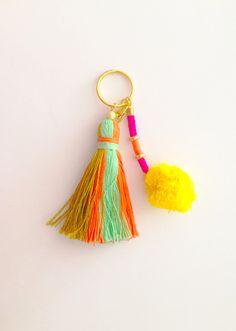 Boho Chic Pom Pom & Tassel Keychain - Multi Color Tassel by PeaceBoutiq on Etsy https://www.etsy.com/listing/248099561/boho-chic-pom-pom-tassel-keychain-multi