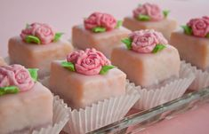 petit fours decorated with fondant roses from cake journal - tutorial & how to video links - very helpful
