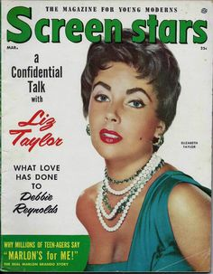 "Elizabeth Taylor on the front cover of ""Screen Stars"" magazine, USA, March 1949."