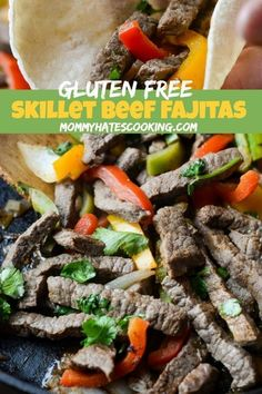 Make dinner delicious with these Skillet Beef Fajitas using a variety of fresh ingredients paired with a homemade fajitas seasoning. Make a delicious dinner with Gluten-Free Skillet Beef Fajitas using fresh vegetables and ingredients. Gluten Free Lasagna, Gluten Free Meal Plan, Gluten Free Recipes, Beef Recipes, Homemade Fajitas, Homemade Fajita Seasoning, Homemade Seasonings, Beef Fajita Marinade, Beef Fajitas