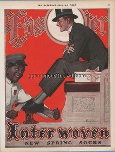 1928 Interwoven Stocking Co Socks Shoeshiner Black Americana E M Jackson art Ad