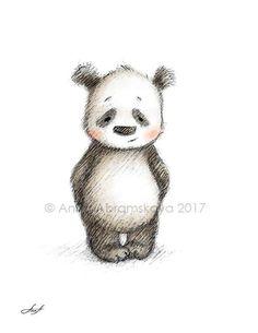 Pencil and Watercolor Drawing of Panda - Nursery Picture - Nursery Art - Baby Gift - Wall Decor - Panda Digital Print - Animal Print Cute Little Drawings, Cute Animal Drawings, Cute Drawings, Panda Nursery, Nursery Art, Panda Kindergarten, Cute Panda Drawing, Back Drawing, Nursery Pictures
