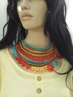 Valentine,Sarracenia Rubra ... Freeform Crochet Beaded Necklace - Magenta  Red Green - Colorful Flowers - Beadwork Bib Statement Necklace