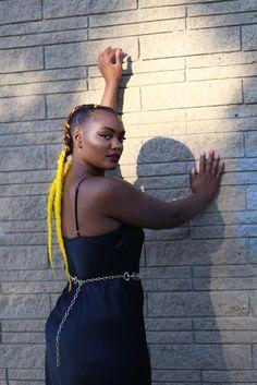 "Shadows - ""Femme Fatale"" model: @JaziMcGill photo by @NextDimensional • clothing: @akcollective • #minneapolis #vintage #slipdress #yellow #dress"