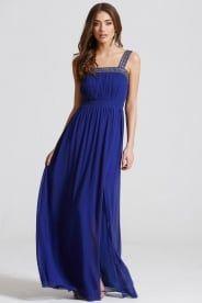 Little Mistress Blue Embellished Trim Maxi Dress - Little Mistress from Little Mistress UK