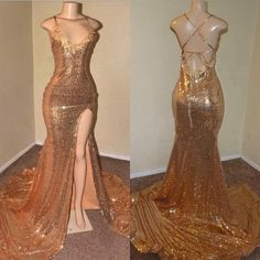 Sexy Gold Sequin Spaghetti-Straps Slit Prom Dresses · Yaydressy · Online Store Powered by Storenvy A-line Prom Dresses,Tulle Prom Dresses,Appliques Prom Dresses Black Girl Prom Dresses, Senior Prom Dresses, Gold Prom Dresses, Prom Outfits, Ball Dresses, Girls Dresses, Sexy Dresses, Straps Prom Dresses, Bridesmaid Dresses