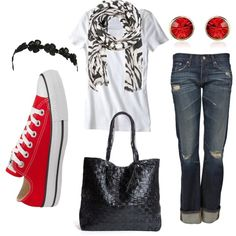 Love the pop of red and the red Converse!