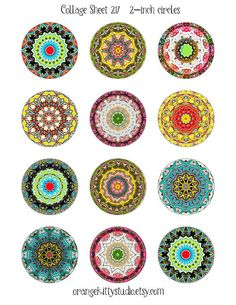 Digital collage sheet 2-inch circles #mandala #kaleidoscope for jewelry, art, crafts
