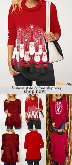 Red trendy tops for women online on sale Christmas Sweaters, Christmas Outfits, T Shirt Painting, Trendy Tops For Women, Bra Styles, Ugly Sweater, Cute Woman, Cool Outfits, Turkish Recipes