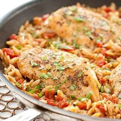 Made this for dinner :                                            Skillet Italian Chicken with Orzo