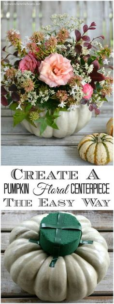Thanksgiving Decorations 2019 - Create a Pumpkin Floral Centerpiece the easy way, no carving required! Ikebana, Thanksgiving Decorations, Halloween Decorations, Rustic Thanksgiving, Thanksgiving Crafts, Thanksgiving Flowers, Autumn Decorations, Art Floral Noel, Pumpkin Vase