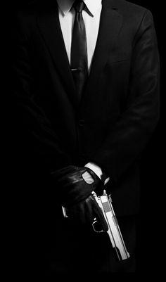 Imagen de suit, gun, and black