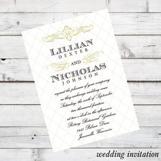 DIY Wedding Invitation Set Printable - Angelique Design - currently shown in Champagne and Brown