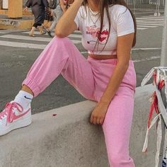 Pink aesthetic outfit fashion cute white embroidered embroidery Nike's high waist high waist trousers pants sweatpants goals egirl soft girl aesthetic fashion 'Sugar & spice' short sleeve crop top – Shop TMP Pink Outfits, Retro Outfits, Cute Casual Outfits, Vintage Outfits, Summer Outfits, Winter Outfits, 2000s Fashion, Look Fashion, Fashion Outfits