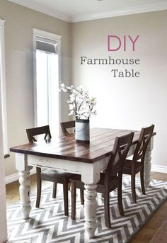 Actually easy to make! The chippy paint is just milk paint – super easy to do. DIY Farmhouse style table turned legs two tone distressed wood top build plans by ANA-WHITE.com
