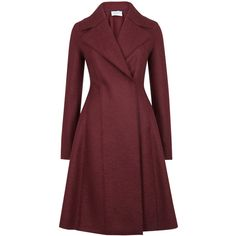 Harris Wharf London Burgundy flared wool coat ($455) ❤ liked on Polyvore featuring outerwear, coats, woolen coat, flared wool coat, double breasted woolen coat, double-breasted wool coat and red coat