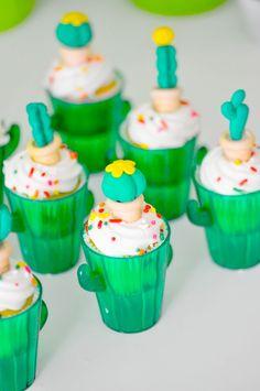 Cactus cupcakes! Cactus themed desert bloom baby shower by kara allen kara's party ideas for oriental trading blog