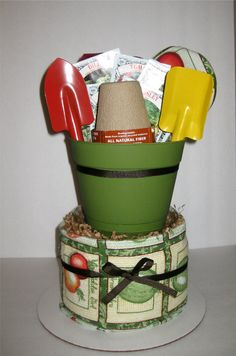 Herb Garden Kitchen Towel Cake. $35.00, via Etsy. I would do this a little different. but cute idea for spring.