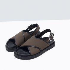 ZARA - NEW THIS WEEK - CROSS STRAP FABRIC FOOTBED SANDALS
