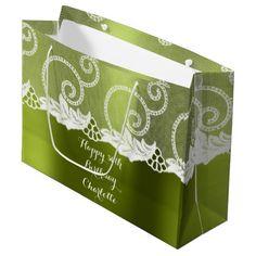 Custom Wedding Birthday Mint Greenly White Lace Large Gift Bag