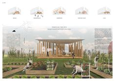 """McGill University students to design triangular """"Growing our Community"""" garden pavilion in Ottawa Studenten der McGill University planen einen dreieckigen Gartenpavillon """"Growing our Community"""" in Ottawa Architecture Presentation Board, Architecture Collage, Garden Architecture, Architecture Portfolio, Modern Architecture, Ancient Architecture, Sustainable Architecture, Modern Buildings, Landscape Plans"""