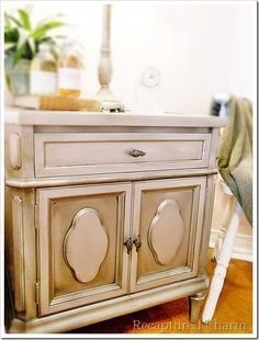 Silver Metallic Night Stands with diluted Valspar Antiquing Glaze