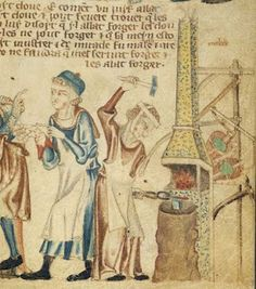 the Holkham Bible, England c. 1327 British library  Add.47682.  See http://www.bl.uk/onlinegallery/sacredtexts/holkham.html for more information