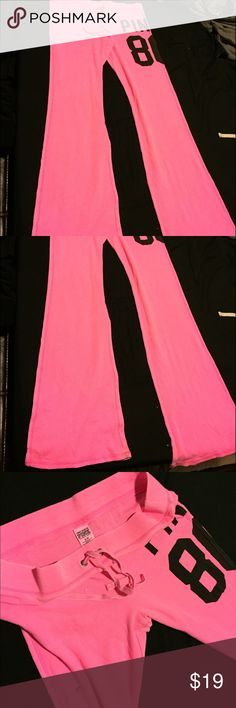 Victoria's Secret PINK thermal pants pink small Victoria's Secret PINK thermal waffle pants boot cut bottoms bright pink  small pic 4 shows wear on bottoms PINK Victoria's Secret Pants Boot Cut & Flare