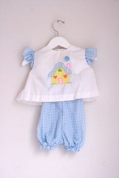 Vintage infant romper blue gingham 6 to 12 months by fuzzymama
