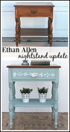 Ethan Allen nightstand makeover to charming stenciled table. DIY furniture makeover tutorial by Girl in the Garage. Formal Ethan Allen nightstand makeover to charming stenciled table with Chalk Paint. DIY furniture makeover tutorial by Girl in the Garage. Diy Furniture Renovation, Cheap Furniture Makeover, Diy Furniture Decor, Repurposed Furniture, Shabby Chic Furniture, Cool Furniture, Painted Furniture, Furniture Design, Rustic Furniture
