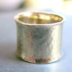 14K Gold Wide Band Ring, Wedding Ring, 13mm Wide Textured Ring, Unisex Ring, Engagement Ring, Handmade Jewelry, Venexia Jewelry. Light and comfortable this wide flat band gold ring will enhance any outfit for any occasion. Listing for ONE ring  Material : 14k solid gold, palladium alloy, hallmark 595 Color : white, no rhodium plating, nickel free Width : 13mm, slightly more than 1/2 inch, 0.8mm thick GOOGLE TIPS for ring size : Measure when fingers are at room temperature If you hesitate...