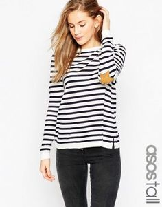 ASOS TALL Jumper in Stripe with Tan Suede Star Elbow Patches – Navy/white