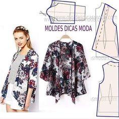 Sewing tops for women diy costura 58 Ideas Kimono Pattern, Cardigan Pattern, Jacket Pattern, Fashion Sewing, Diy Fashion, Ideias Fashion, Diy Clothing, Sewing Clothes, Dress Sewing Patterns