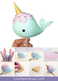 Narwhal Cake Topper – – Famous Last Words Cake Topper Tutorial, Fondant Tutorial, Unicorn Diy, Donut Decorations, Fondant Animals, Unicorn Cake Topper, Unicorn Cakes, Fondant Toppers, Fondant Cakes Kids