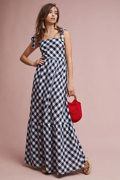 New Anthropologie Tiered Gingham Maxi Dress by Steele Navy sz L Lined Sold Out Dress With Bow, Dress Me Up, Casual Brunch Outfit, Gingham Dress, Pink Gingham, Dress Cuts, Preppy Style, Fashion Dresses, Fashion Clothes