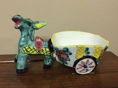 Donkey Planter Figurine w/ Cart Made in Italy Colorful Vintage Ceramic Floral  | eBay