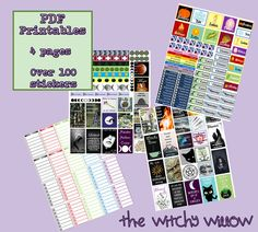 100+ Pagan Witch Planner Stickers- PRINTABLE PDF Free Planner, Planner Pages, Happy Planner, Planner Ideas, Health Planner, Fitness Planner, Pagan Witch, Wiccan, Magick