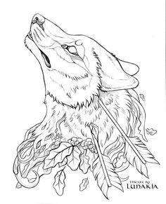 Free Wolf Lineart by Lunakia.deviantart.com on @DeviantArt Dark Art Drawings, Outline Drawings, Animal Coloring Pages, Colouring Pages, Free Coloring, Wolf Outline, Animal Outline, Animal Sketches, Art Sketches