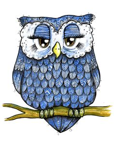 Blue Owl  Ink and Watercolor Feathery Pal by TaraPut on Etsy