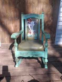 Vintage oak rocker handpainted turquoise with momma Hereford and her baby Refurbished Furniture, Furniture Makeover, Painted Furniture, Skull Furniture, Furniture Projects, Rocking Chair Makeover, Teal Chair, Western Decor, Western Art