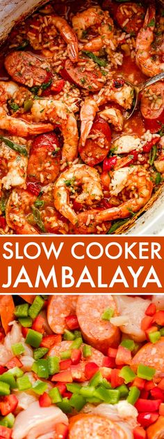 This Slow Cooker Cajun Jambalaya recipe is a total showstopper! Comforting, warming, and delicious, this combination of chicken, sausage, shrimp, and aromatics will definitely satisfy your tastebuds. It tastes like you spent all day in the kitchen! But, just between us, it's actually a super-easy recipe that lets your slow-cooker do all the work! #jambalaya #slowcookerrecipes Crock Pot Recipes, Slow Cooker Recipes, Cooking Recipes, Cajun Cooking, Crockpot Meals, Chicken Jambalaya, Slow Cooker Jambalaya, Easy Jambalaya Recipe, Slow Cooking