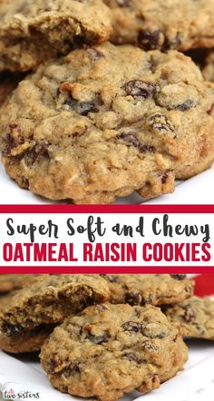 oatmeal cookies chewy ~ oatmeal cookies + oatmeal cookies easy + oatmeal cookies healthy + oatmeal cookies chewy + oatmeal cookies recipes + oatmeal cookies chocolate chip + oatmeal cookies easy 2 ingredients + oatmeal cookies with quick oats Soft Oatmeal Raisin Cookies, Homemade Oatmeal Cookies, Oatmeal Cookie Recipes, Delicious Cookie Recipes, Yummy Cookies, Baking Recipes, Dessert Recipes, Best Oatmeal Cookies Ever Recipe, Soft Baked Cookies