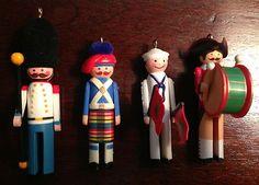 Lot 4 Clothespin Soldier 1982, 1983, 1984 & 1987 Hallmark Keepsake Ornaments