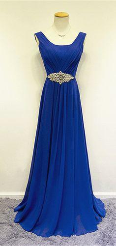 Cheap Blue Chiffon Long Prom Dresses Crystal Elegant Sweep Train Popular Evening…